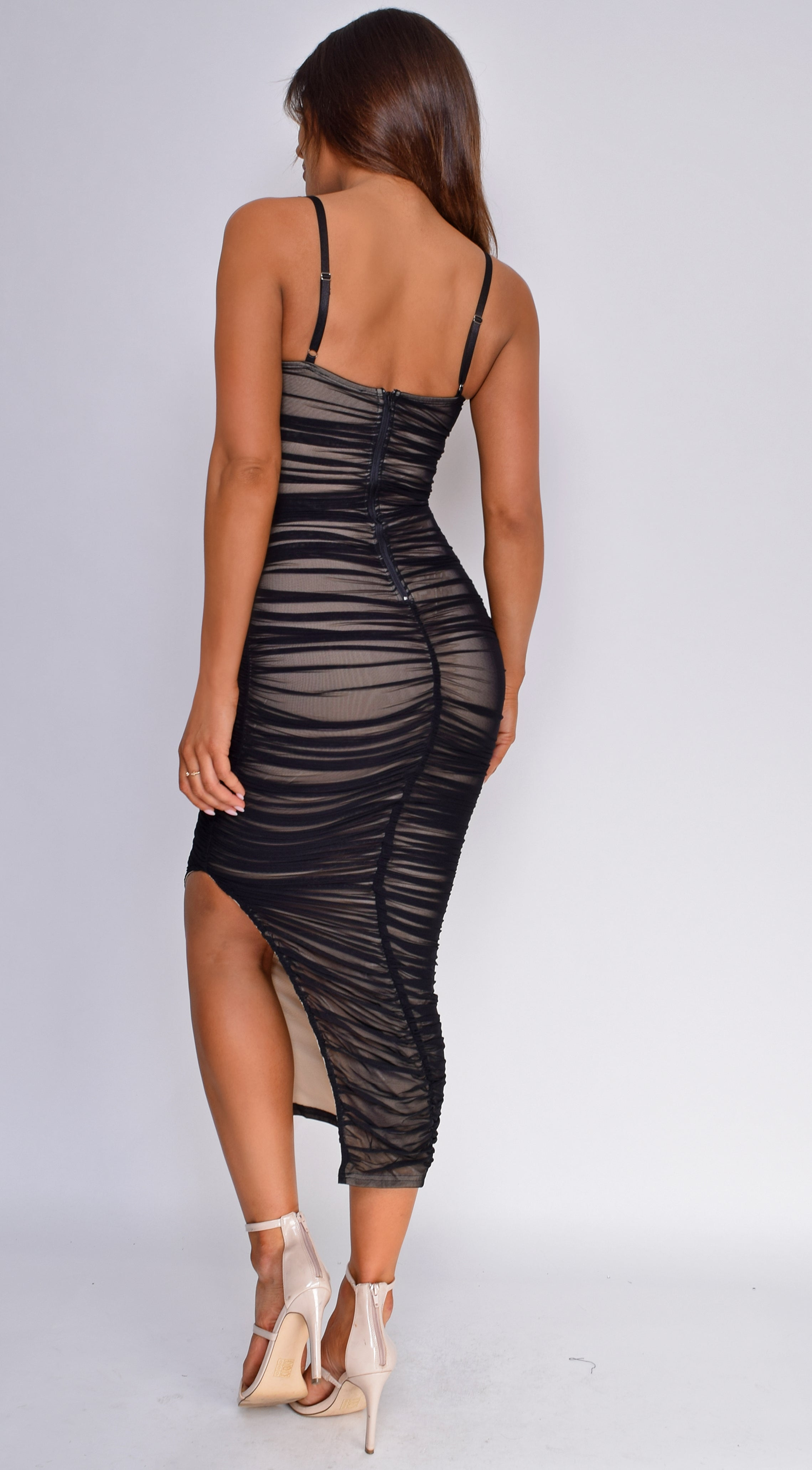 Kana Black Ruched Mesh Slit Dress