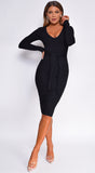 Eman Black V Neck Long Sleeve Ribbed Knit Midi Dress