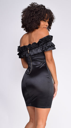 Dylan Black Stain Off Shoulder dress