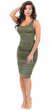 Olive Sleeveless Tank Ruched Midi Dress