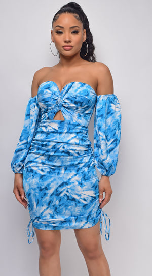 Roya Blue Floral Print Off Shoulder Dress
