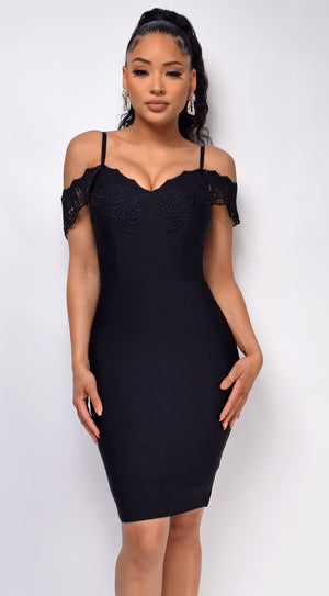 Novella Black Crochet Lace Off Shoulder Bandage Dress