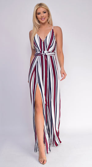 Deja White Wine Striped Print Slit Wide Leg Jumpsuit