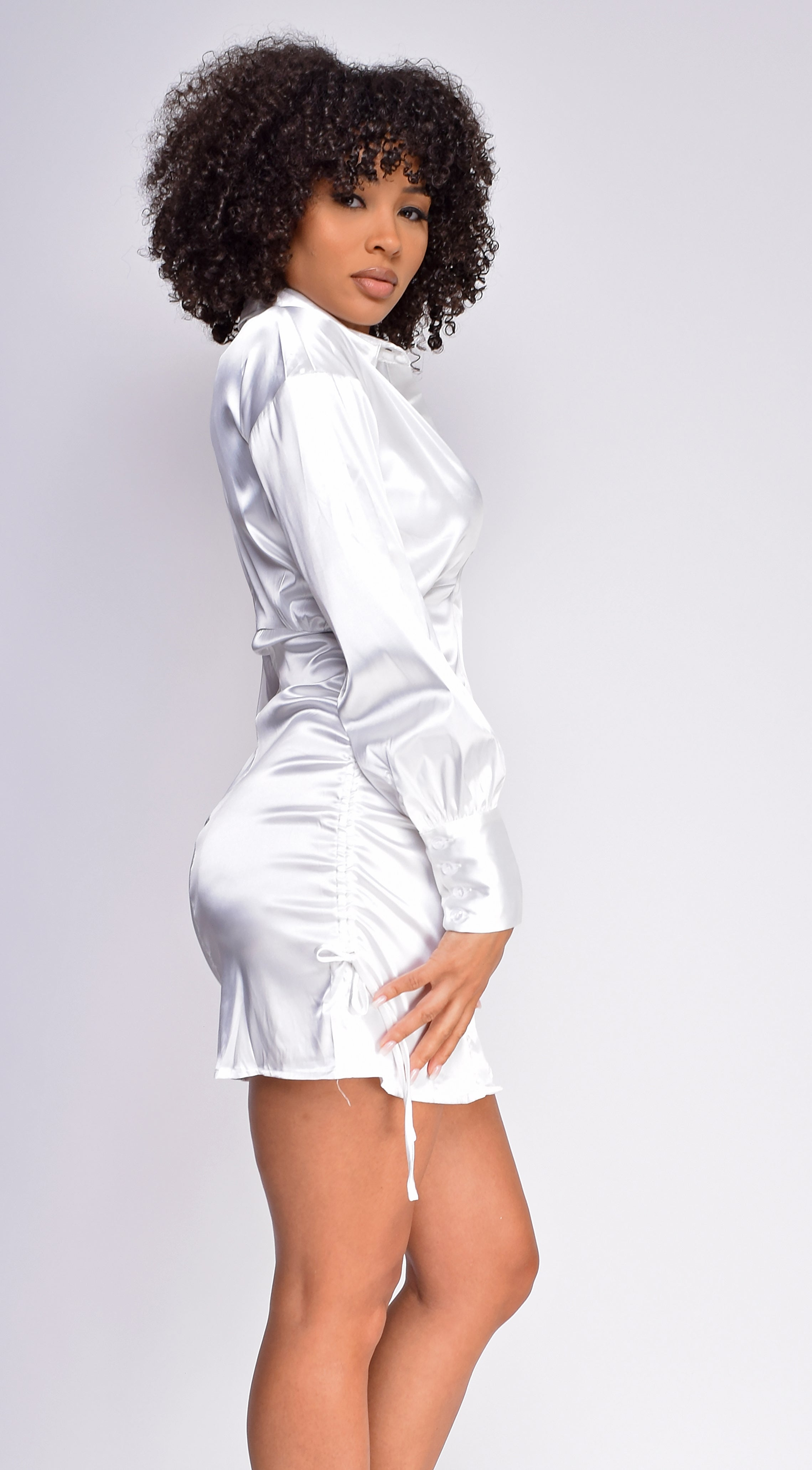 Mindy Off White Buttoned Satin Ruched Shirt Dress