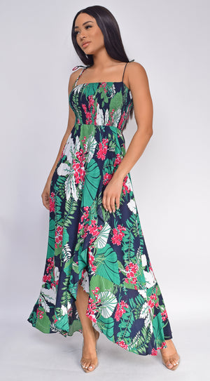 Salma Navy Multi Floral Print Slit Maxi Dress