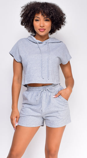 Chenille Grey Crop Hoodie And Short Set