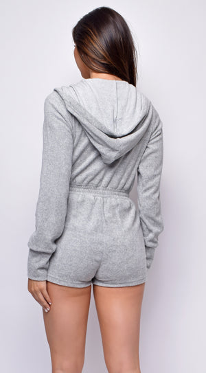 Esai Grey French Terry Zip Up Romper