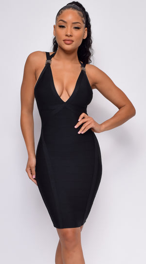 Make Your Entrance Black Buckle Strap Bandage Dress