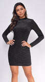 Amaya Black Gold High Neck Velvet Dress