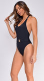 Kauai Black Lion Head Belted Swimsuit