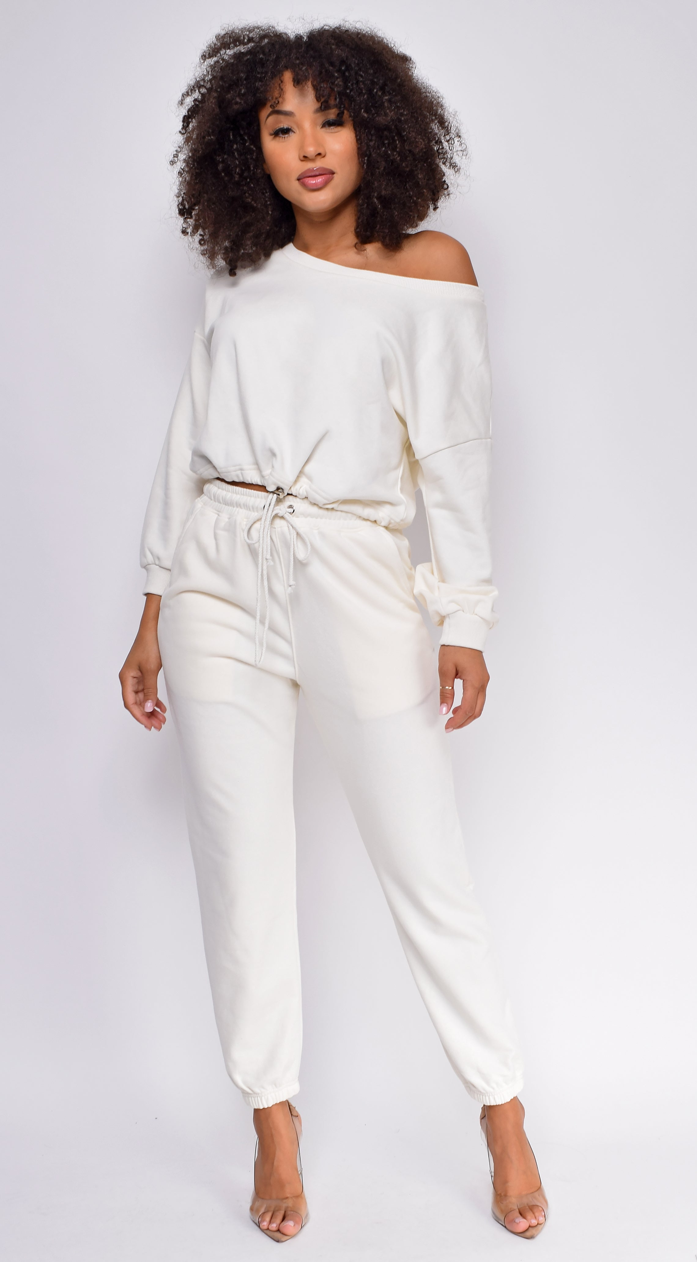 Serious Chills Ivory White Off Shoulder Sweater and Joggers Lounge Set