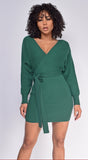 Jetta Hunter Green Wrap Sweater Dress