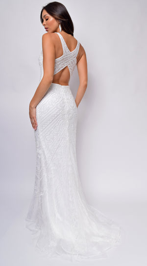 Antoinette Beaded Criss Cross Back Bridal Gown