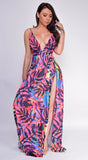 Ilene Pink Multi Color Tropical Print Slit Maxi Dress