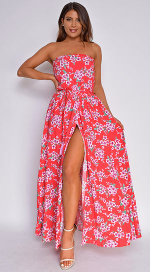 Katria Coral Red Floral Print Strapless Slit Maxi Dress