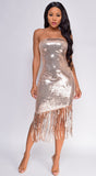 Yana Rose Gold Strapless Sequin Fringe Dress