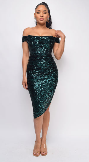 Mairaly Emerald Green Sequin Dress