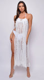 Mykonos White Premium Lace Sarong Cover Up Skirt Dress