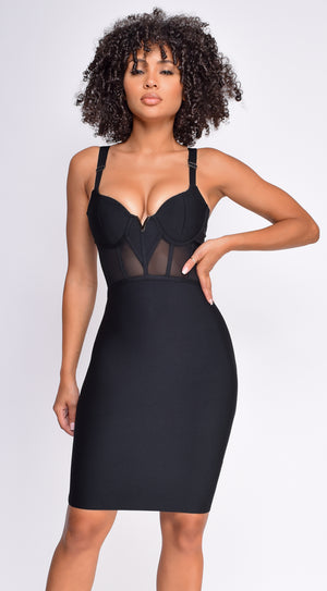 Casella Black V Neck Bustier Mesh Bandage Dress