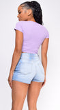 Stormi Lavender Purple Ribbed Button Front Crop Top