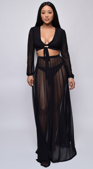 Ponza Black Sheer Cropped Maxi Cover-up Set