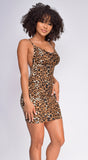 Lexi Brown Leopard Print Cowl Neck Dress