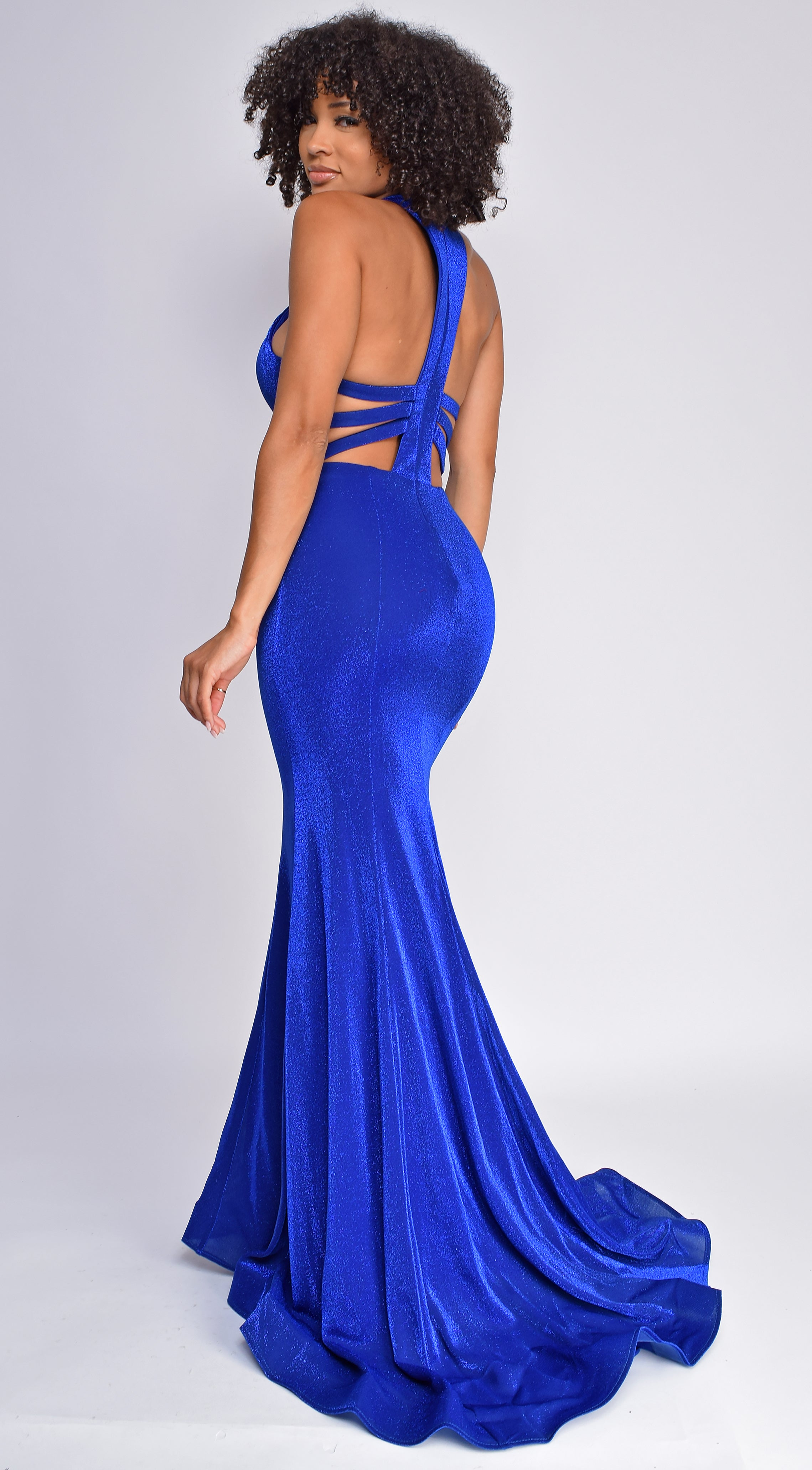 Kyra Royal Blue Glitter High Neck Gown