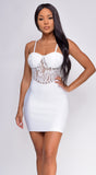 Keegan White Lace Bustier Bandage Dress