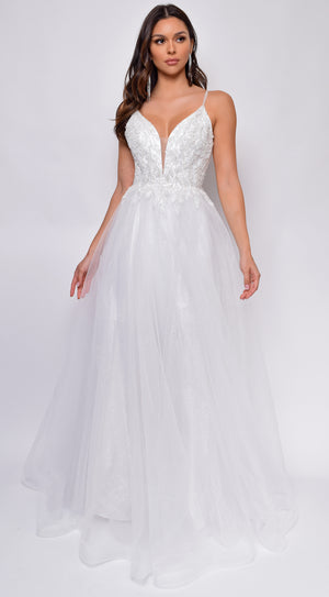 Brighton Off-White A-Line Layered Tulle Beaded Applique Bridal Gown