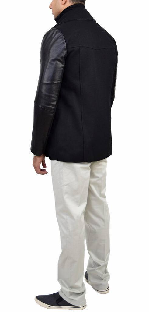 Bradley Black Wool Peacoat With Leather Sleeves - Emprada