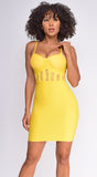 Apryl Yellow Lace Detail Bustier Bandage Dress