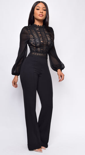 Nerine Black Crochet Lace Mesh Jumpsuit