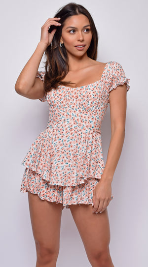 Meena White Orange Floral Off Shoulder Ruffled Romper