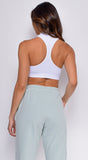 Hedy White Mock Neck Sleeveless Racerback Crop Top