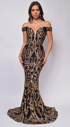 Rayna Black Gold Off Shoulder Gown