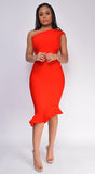 Luna Red Asymmetric Ruffle Bottom Bandage Dress