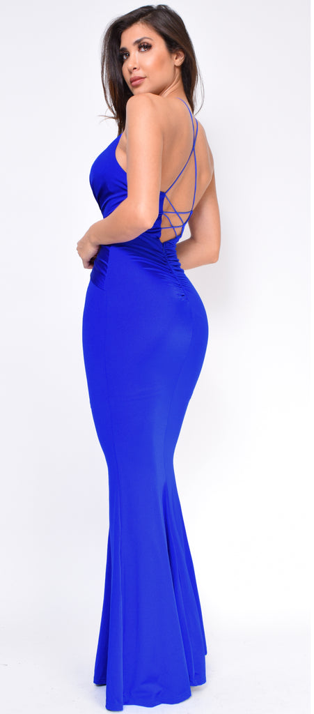Guiliana Royal Blue Front Knot Gown