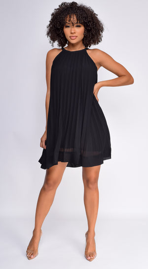 Lillie Black Pleated Flowy Mini Dress