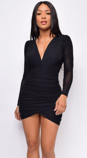 Adaly Black Wrap Dress