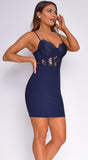 Belakane Navy Blue Scalloped Lace Bustier Dress