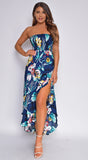 Desirae Navy Blue Tropical Print Slit Maxi Dress