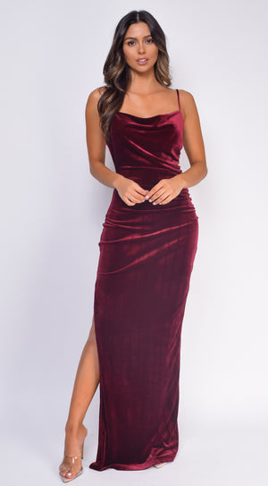 Krista Burgundy Red Cowl Neck Velvet Slit Maxi Dress