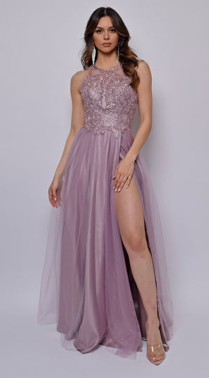 Keily Mauve Pink Lace Embellished Tulle Gown