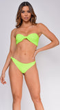 Palm Springs Neon Lime Bandeau Bow Front Knot Bikini