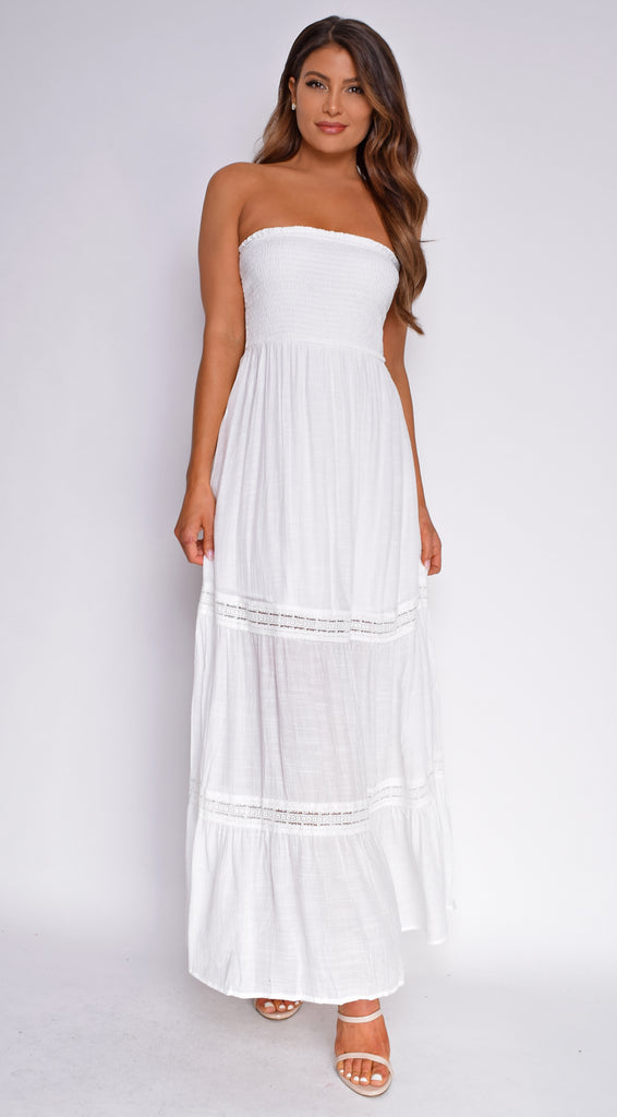 Natia White Smocked Tube Boho Maxi Dress
