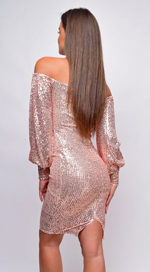 Gigiana Rose Gold Sequin Off Shoulder Midi Dress