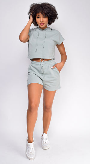 Chenille Sage Green Crop Hoodie And Short Set