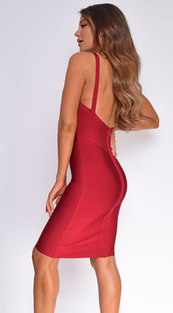 Colette Burgundy Red Low Back Bandage Dress