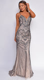 Athena Nude Black Beaded Gown