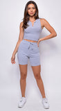 Elevate Grey Notch Detail Biker Top & Short Set